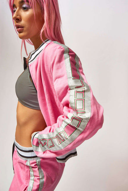 Pink Tracktop With Silver Taping