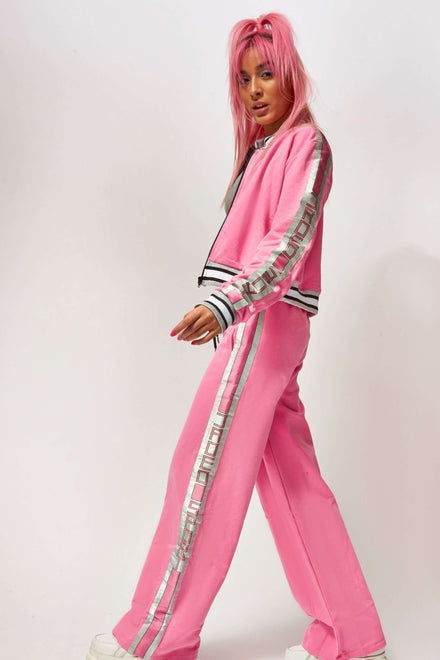 Pink Joggers With Silver Taping
