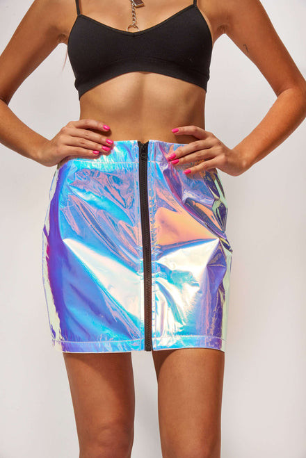 Blue Crinkle Foil Mini Skirt