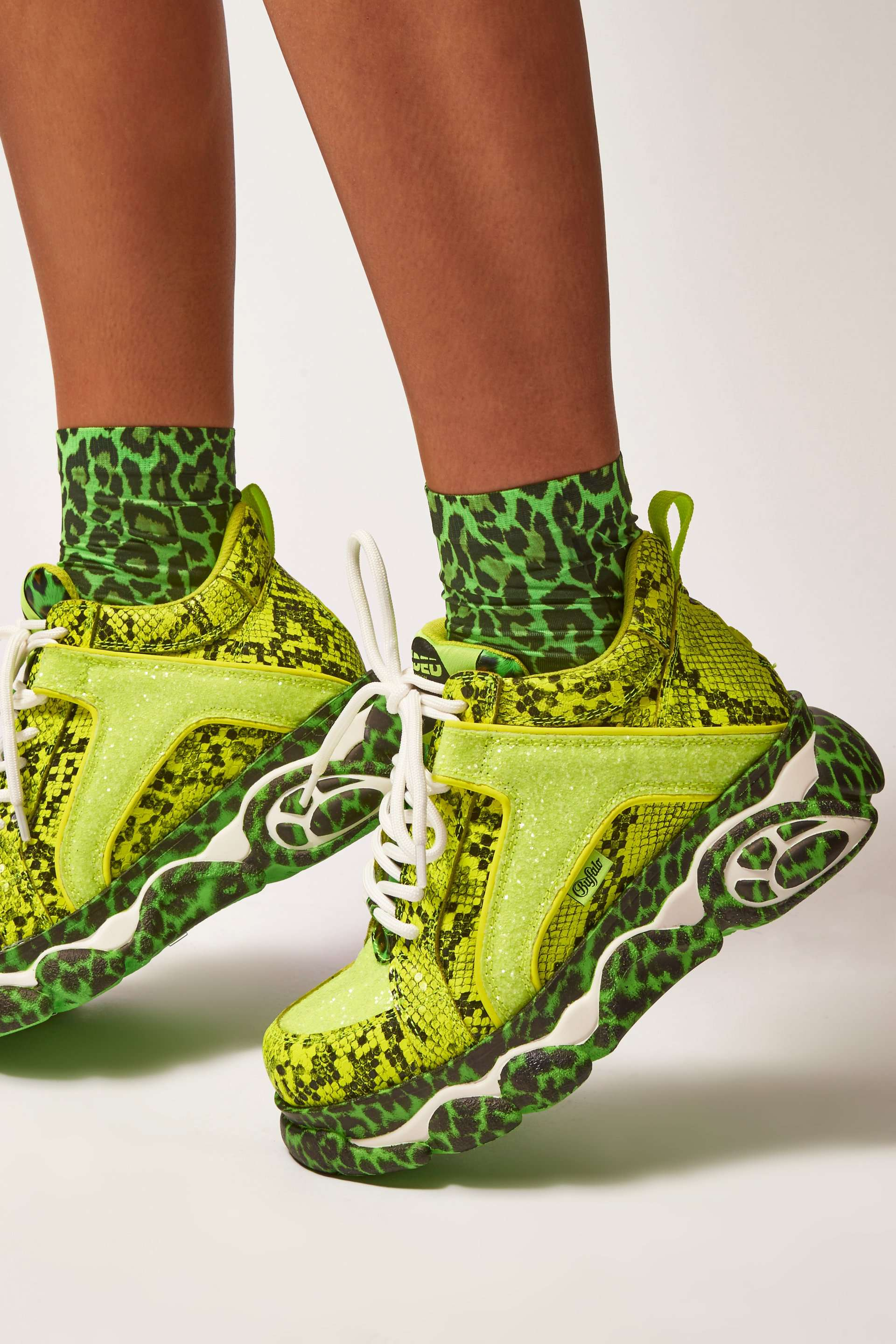 Jaded London X Buffalo Neon Snake Platform Trainers