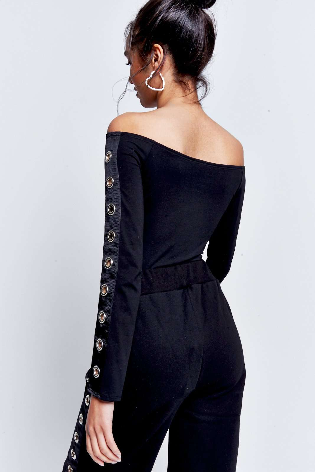 Off The Shoulder Eyelet High Leg Body