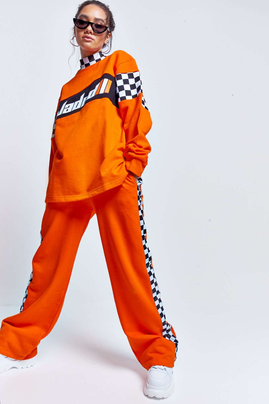 Orange Checkerboard Wide Leg Joggers