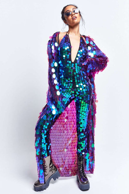 Purple Iridescent Sequin Halterneck Catsuit