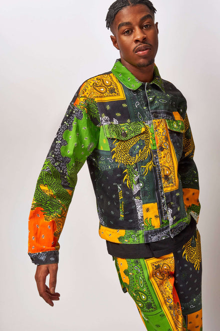 Yellow & Green Paisley Dragon Denim Jacket