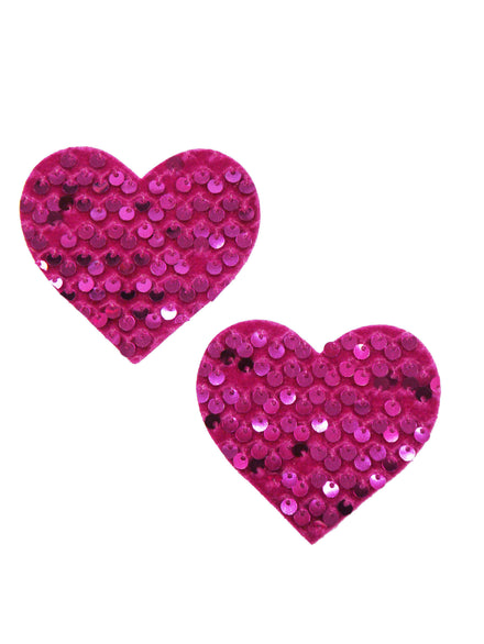 Neva Nude Pink Velvet Sequin Heart Nipple Covers