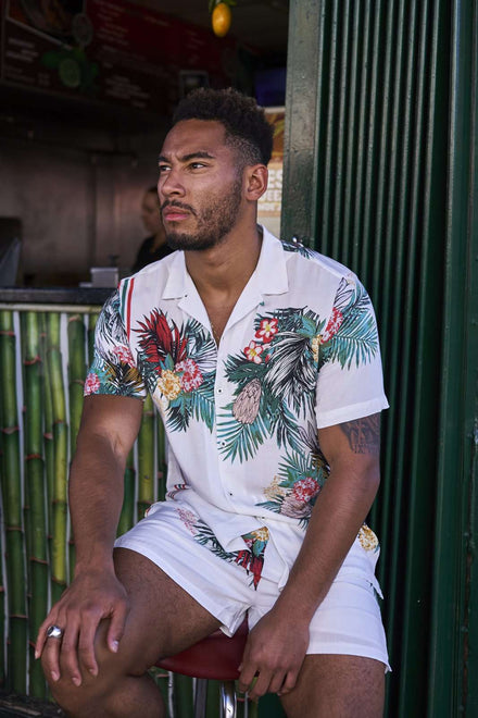 Tropical Floral Viscose Shirt