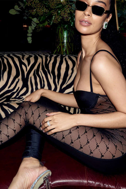 Bustier Catsuit With Flock Mesh Sides