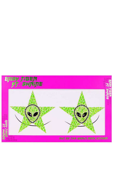 The Shrine Neon Green Alien Star Body Stickers