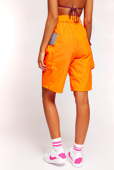 Neon Orange Cargo Shorts With Reflective Detail