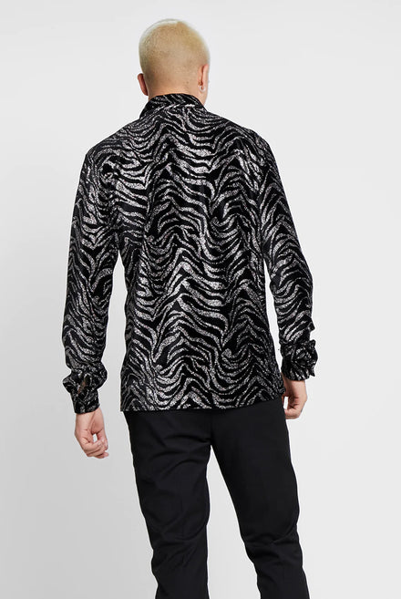 Glittered Zebra Velvet Long Sleeve Shirt