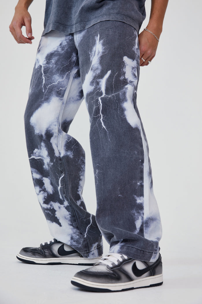 Black White Lightning Cloud Print Skate Jeans Jaded London