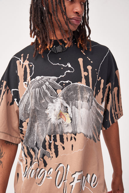 Bleached Eagle Print Oversized T-shirt