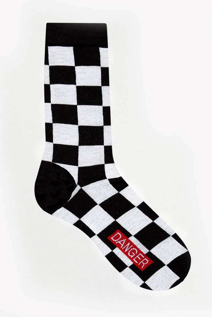Granted Black & White Checkerboard Socks