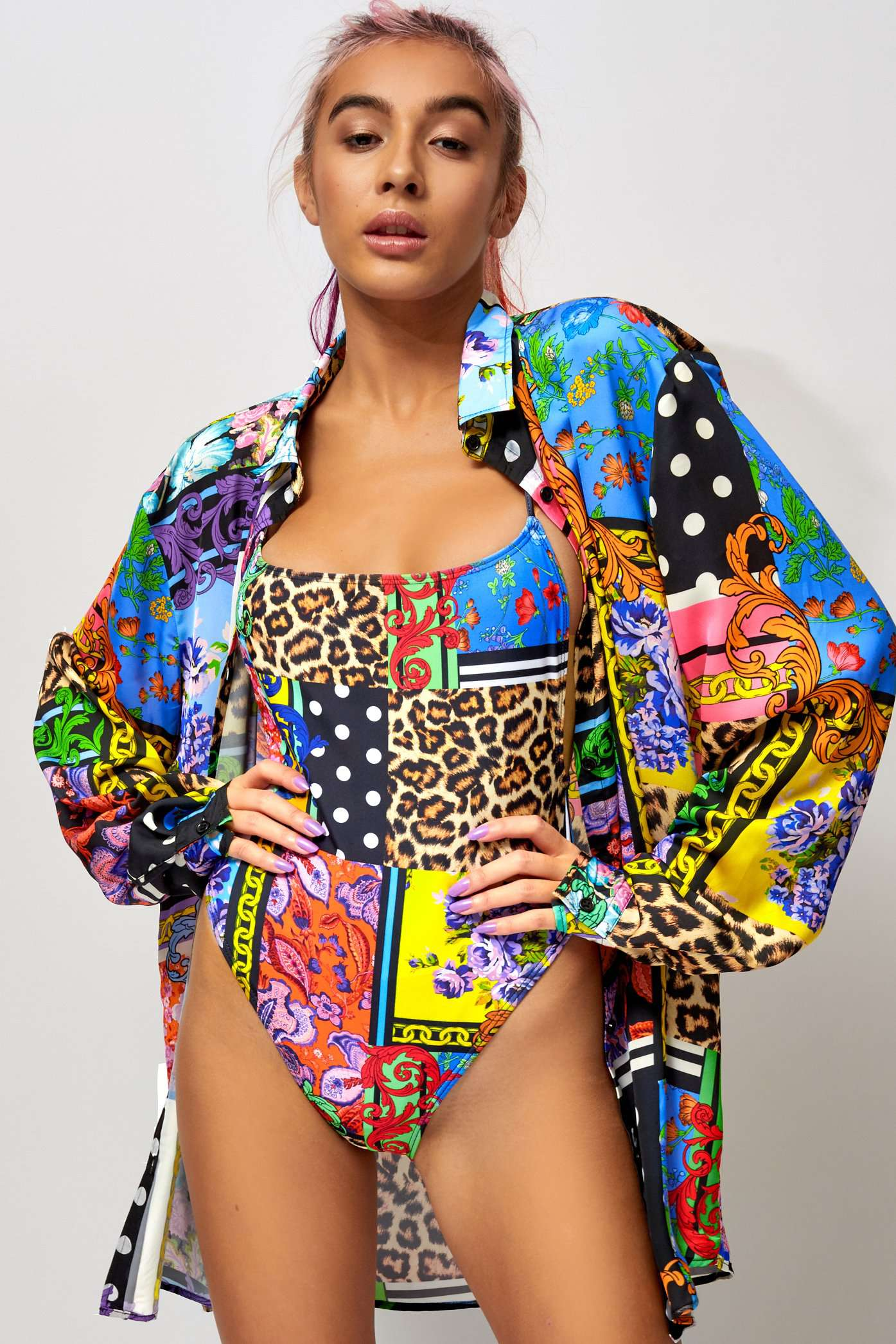 Floral Patchwork Print Oversized Beach Shirt