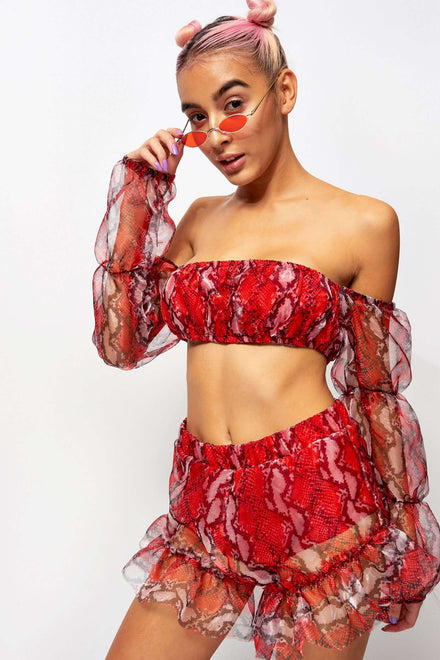 Red Snake Organza Puff Sleeve Top