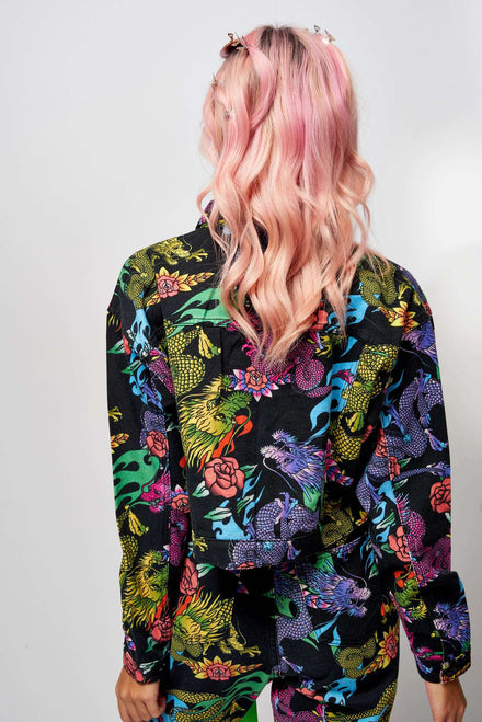Dragon Print Denim Jacket