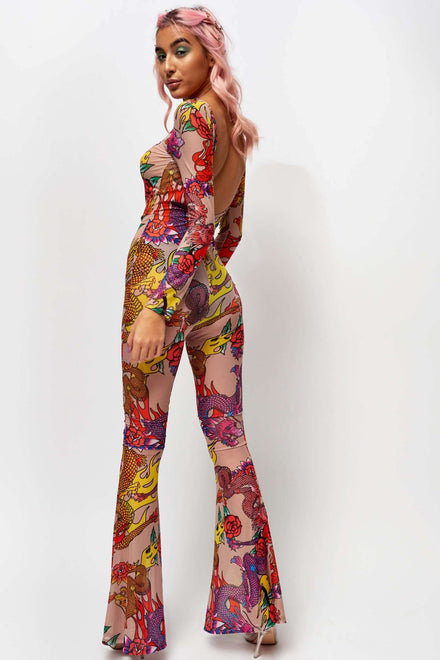 Dragon Print Mesh Flared Leg Catsuit