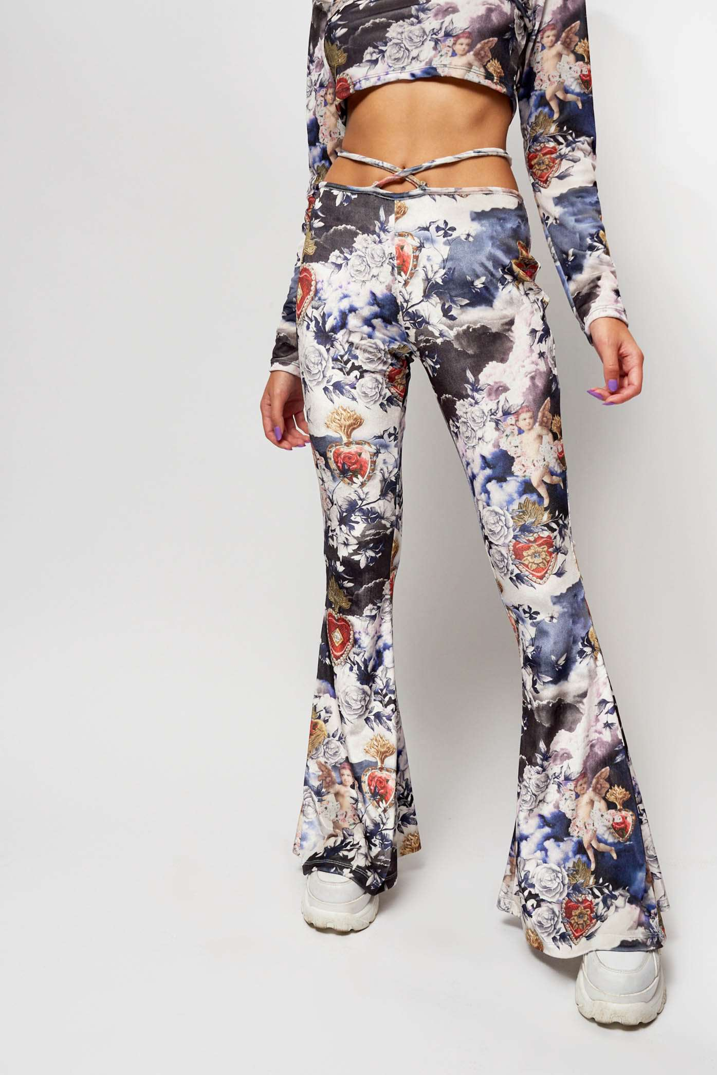 Cherub Print Flares with Heart Thong Detail