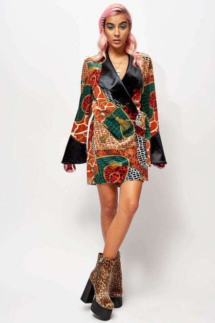 Animal Clash Scarf Print Velvet Wrap Dress