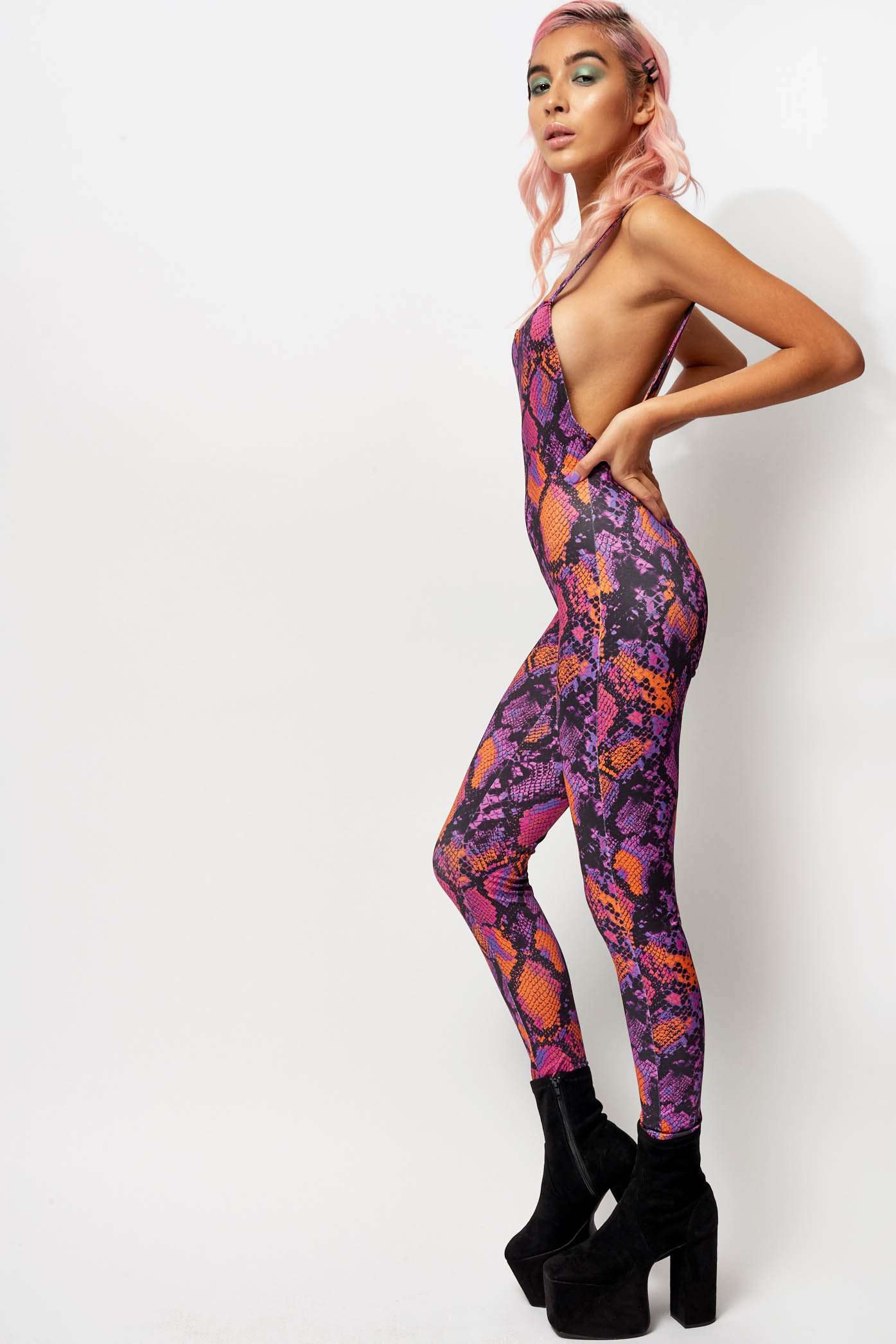 Purple Snake Print Catsuit