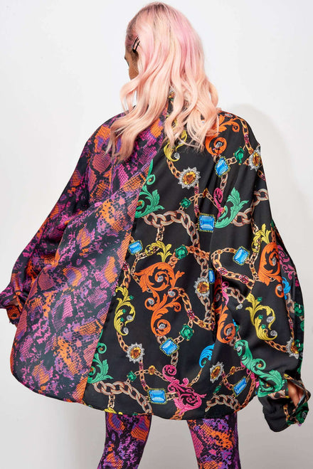 Half Jewel, Half Snake Oversized Printed Shirt