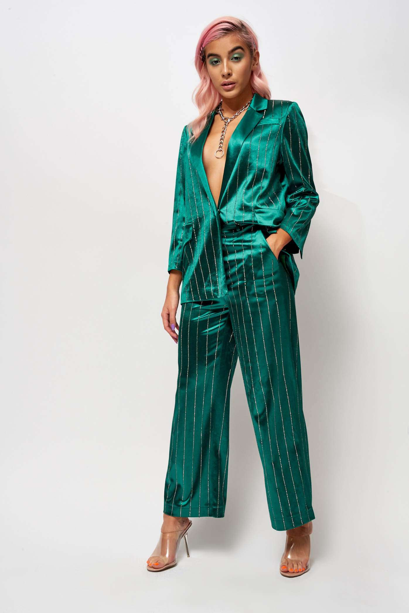 Emerald Green Rhinestone Pinstripe Suit Jacket