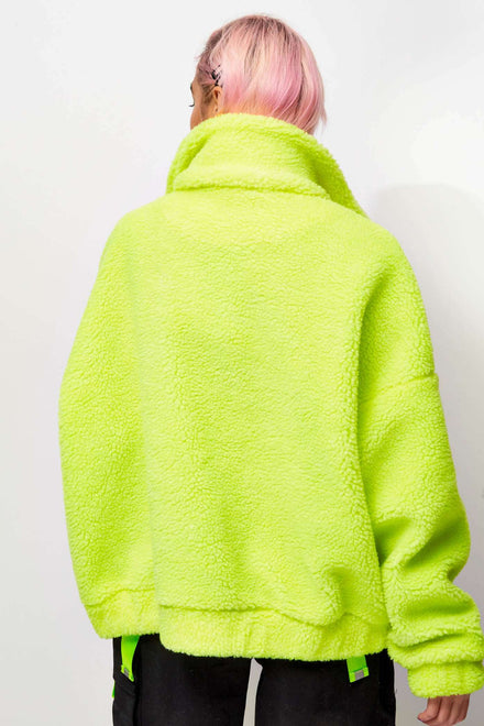 Neon Yellow Fleece Jacket with Reflective Zip Puller
