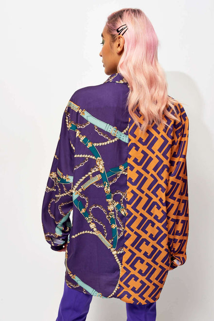 Half & Half Belt Printed Oversized Shirt