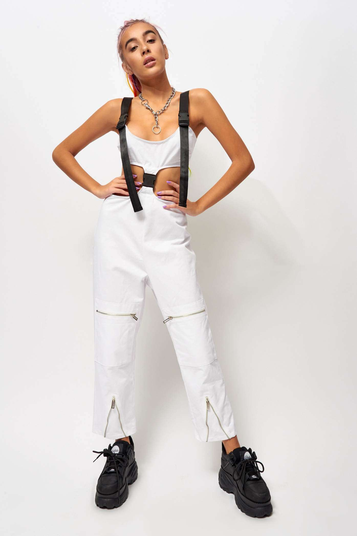 White Cut Out Cargo Jumpsuit