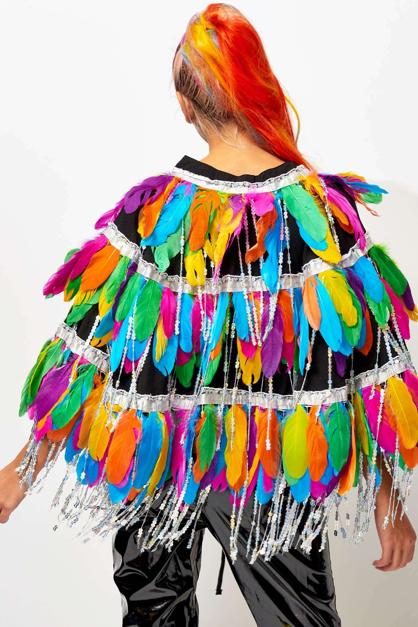 Rainbow Fringe Cape With Feathers & Sequins