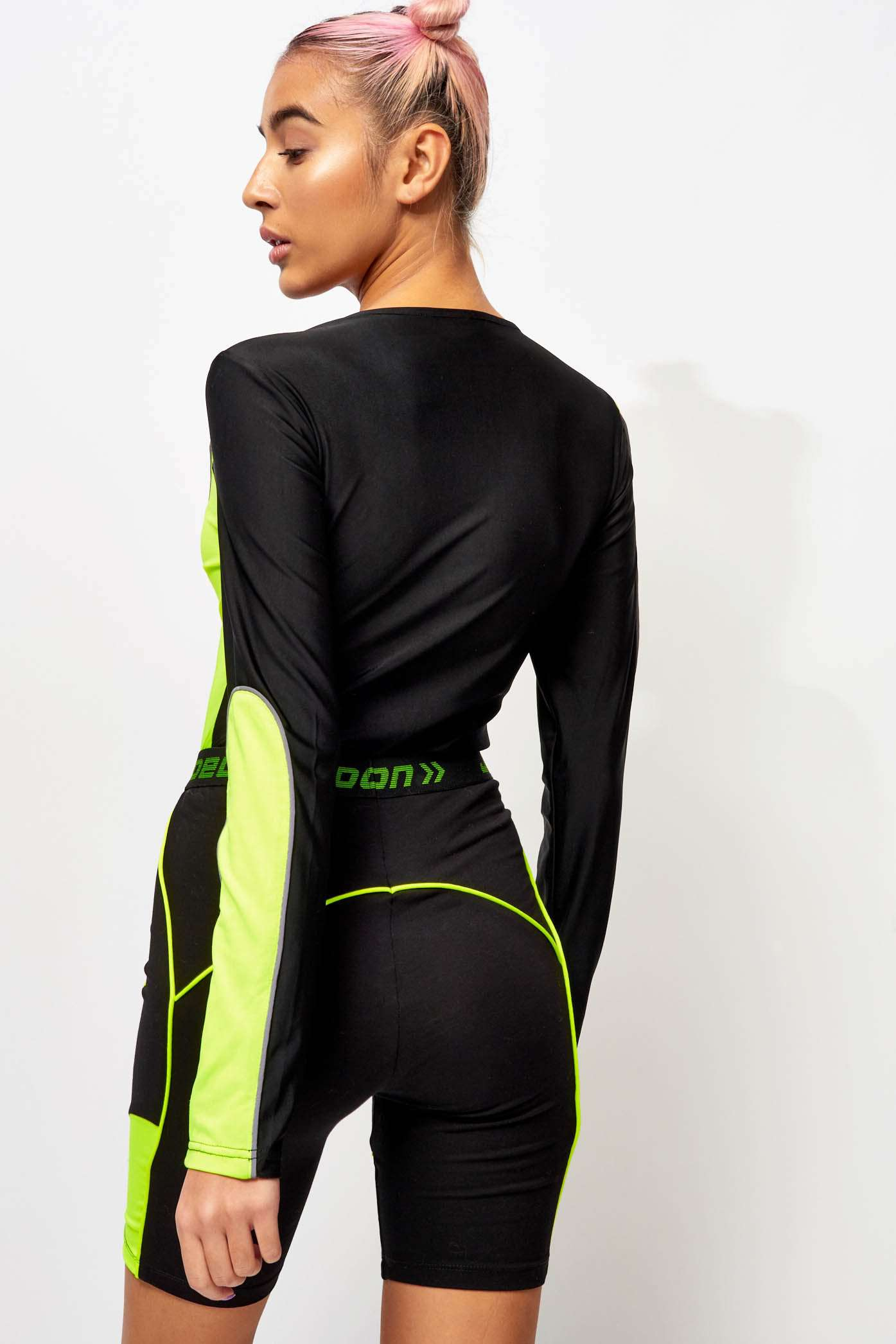 Long Sleeve Neon Panelled Body with Reflective Piping