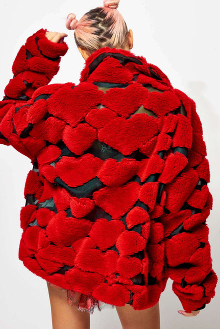 Oversized Red Heart Fleece Jacket