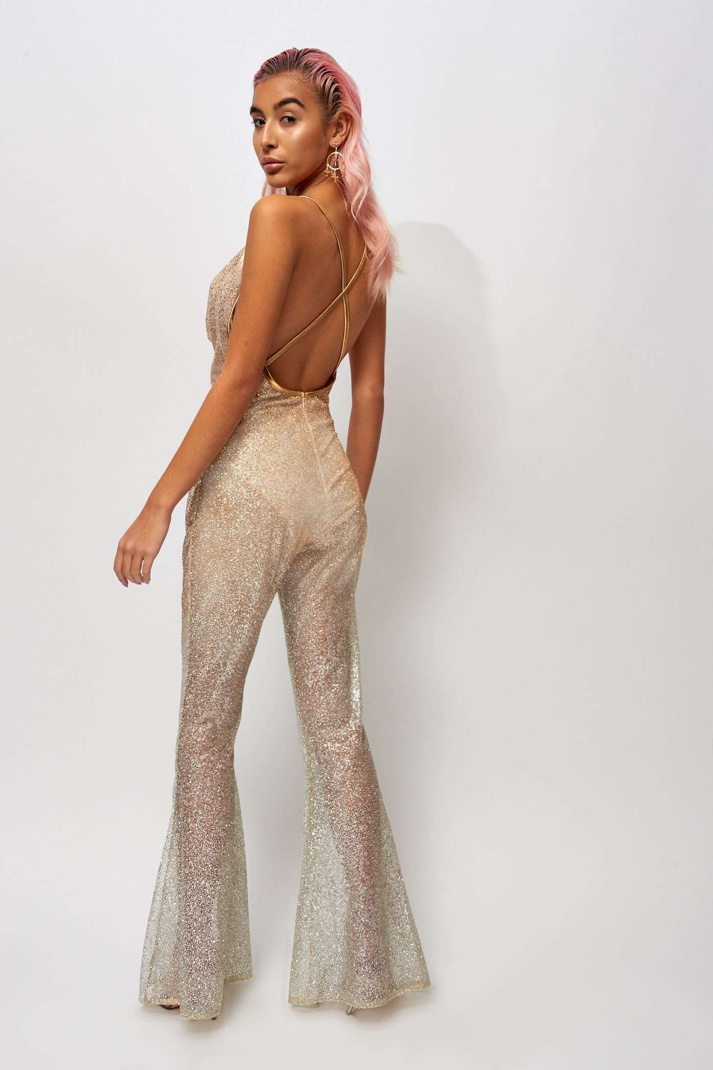 Glitter Mesh Cowl Front Catsuit