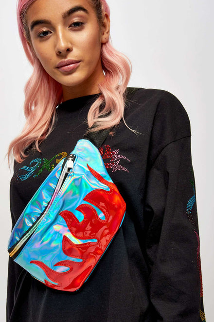 Holographic Flame Bumbag
