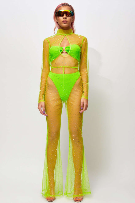 Diamante Neon Green Mesh Keyhole Flared Leg Catsuit