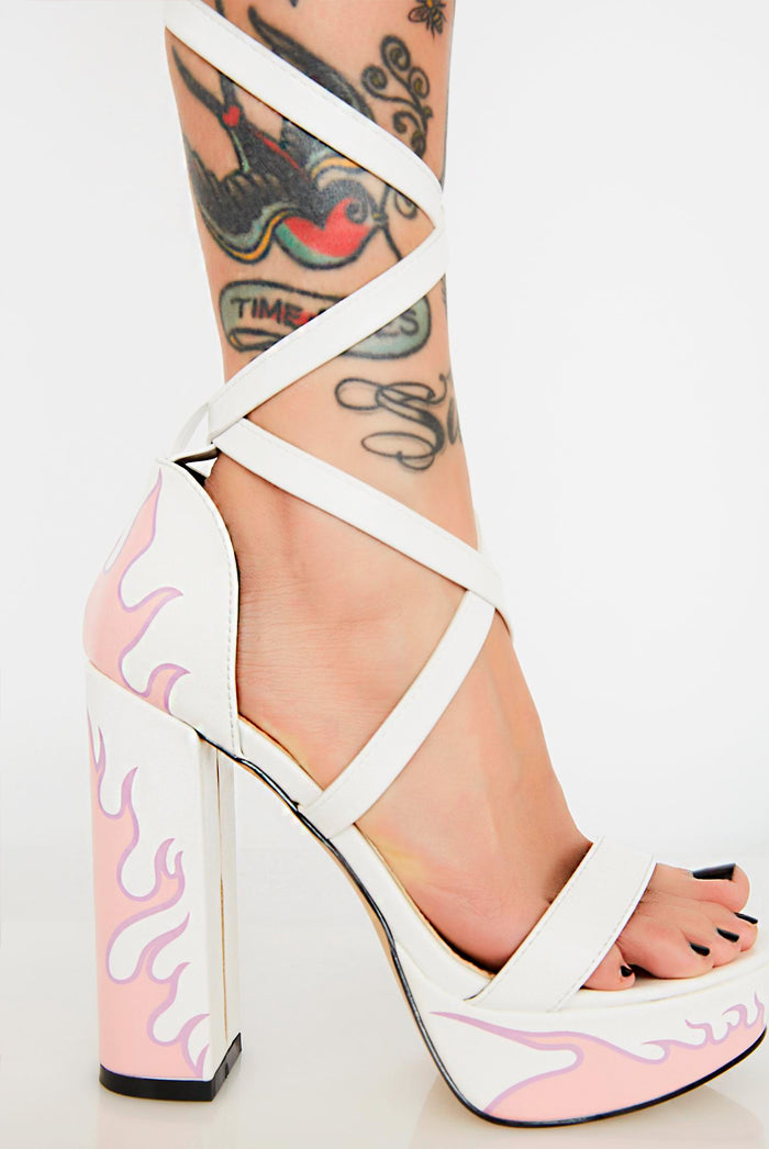 Lamoda White Flame Lace Up Platform Heels