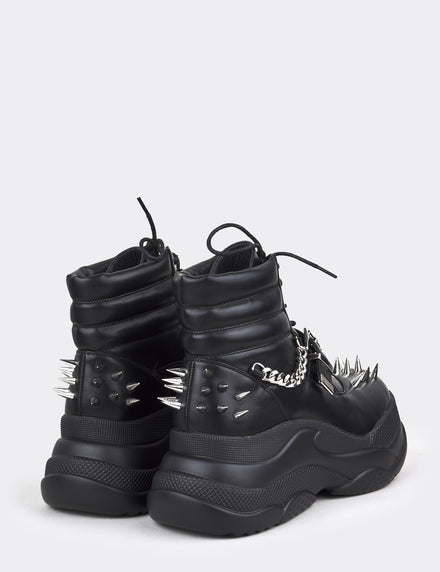 Lamoda Black Chunky Boots With Spike Detail