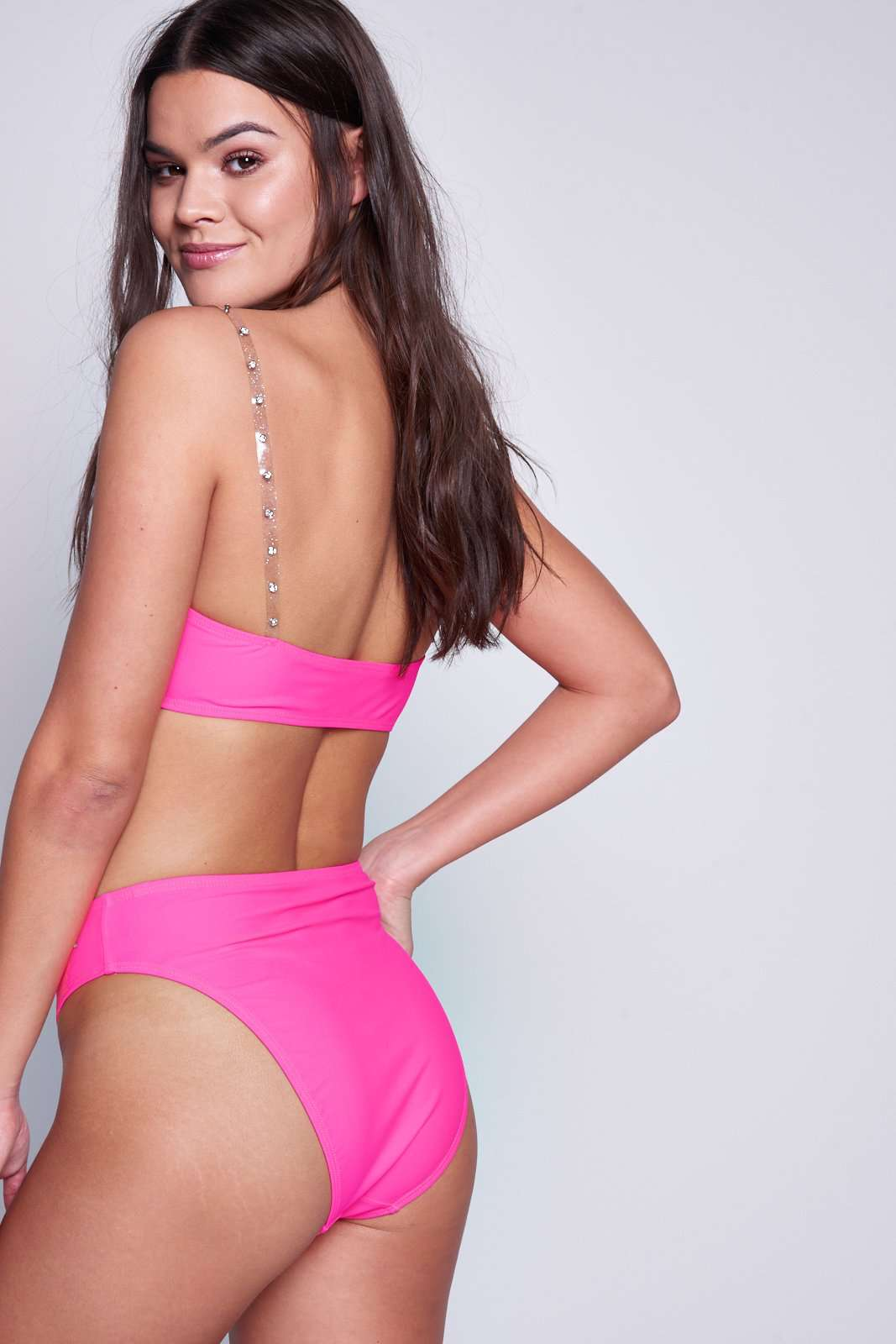 Neon Pink Diamante High Leg Bikini Bottoms