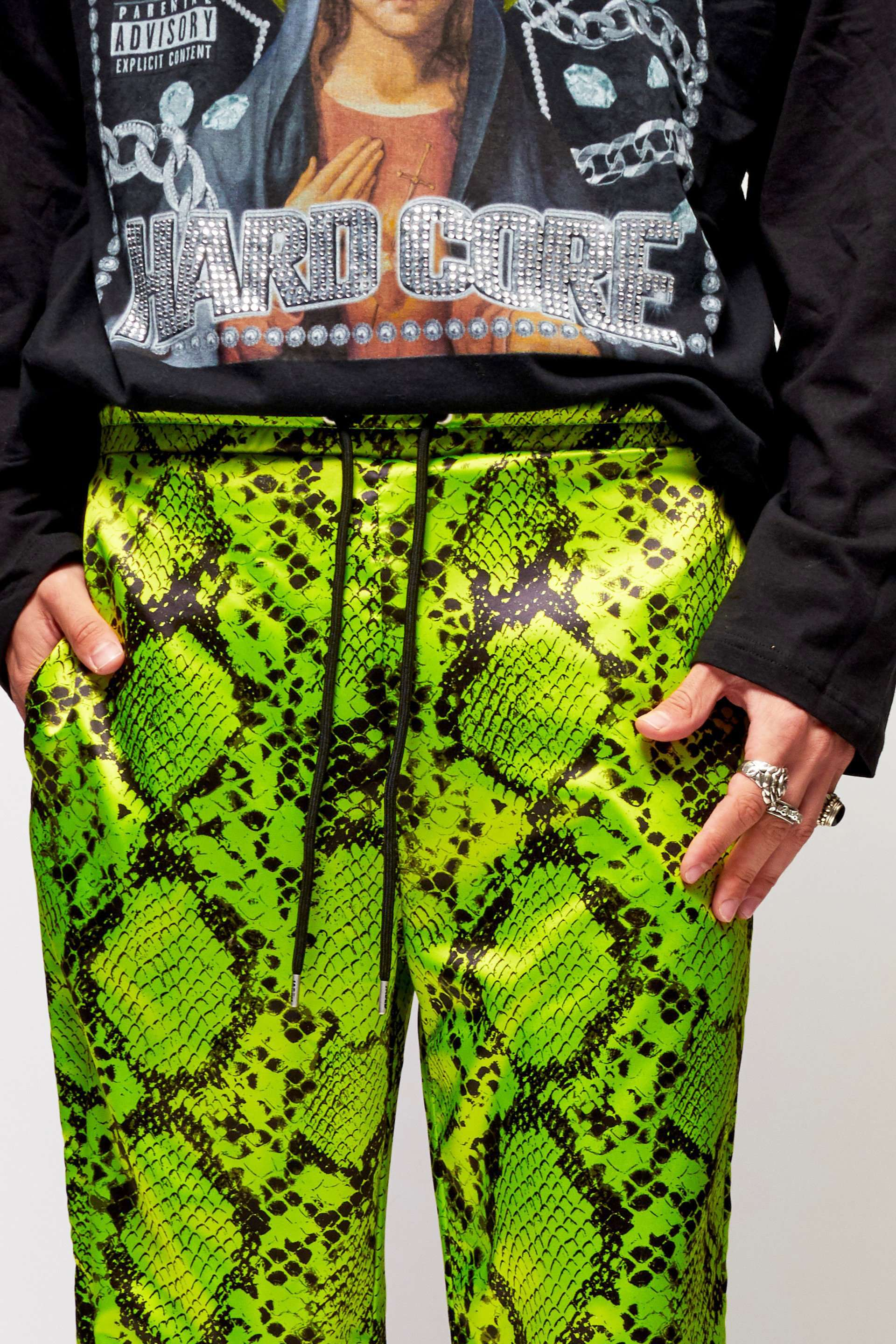 Neon Green Snakeskin Satin Trousers
