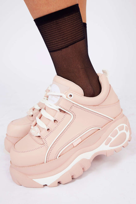 Buffalo London Baby Pink Platform Trainers