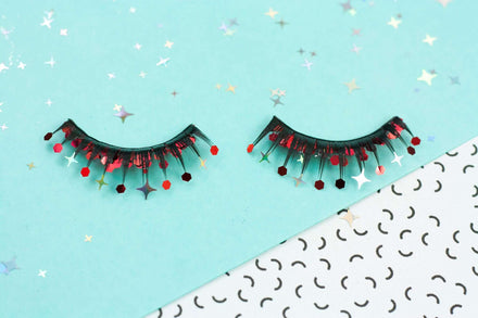 VIAV Red Glitter Eyelashes
