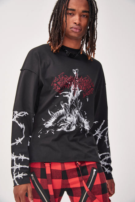 Gothic Barbed Wire Print Long Sleeve T-shirt