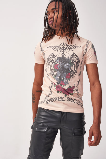 Beige Tattoo Print T-shirt