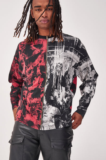 Spliced Zip Through Punk Print Long Sleeve T-shirt