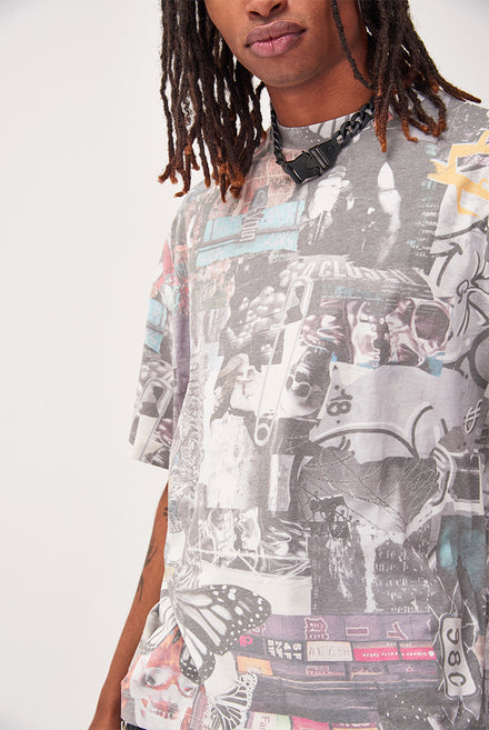 Washed Collage Print Oversized T-shirt