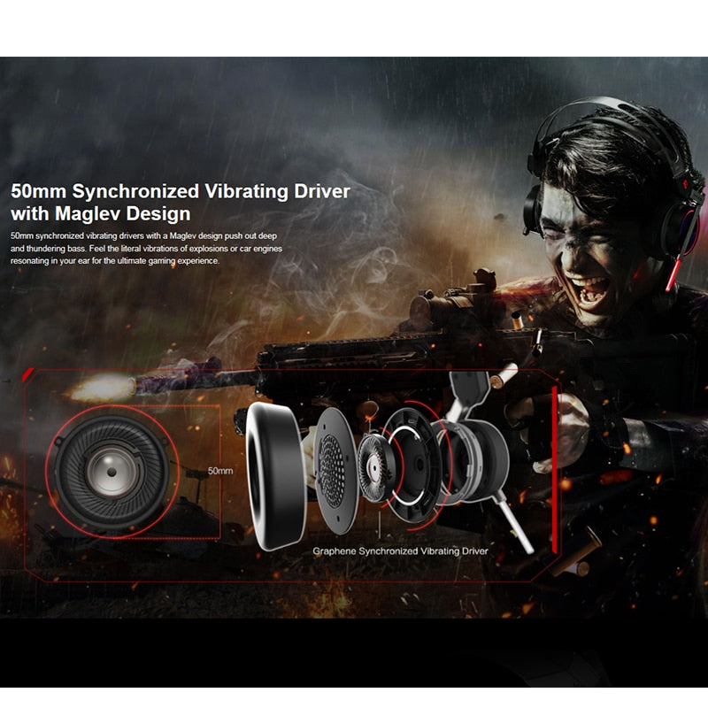 1MORE H1005 Spearhead VRX Gaming Headphones Waves Nx Head Tracking 3D Audio  Experience ENC Dual Mic Technology LED 7 1 Surround