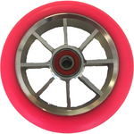 Grit 8 Spoke | 100mm Wheel | Silver Core with Fluro Pink PU (Pair)