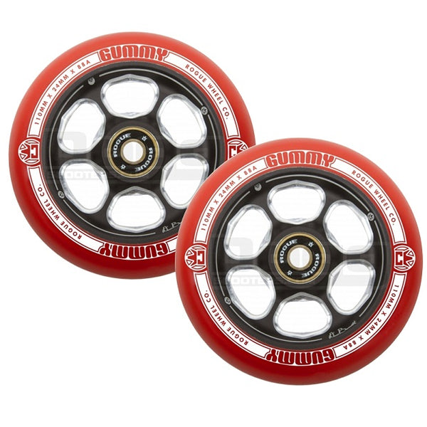 Rogue 110mm Gummy (1 pce) wheels Red/Black (PAIR)