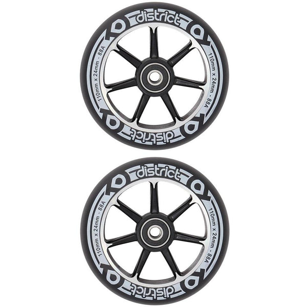 District Alloy Wheel 110mm | Black | (PAIR)