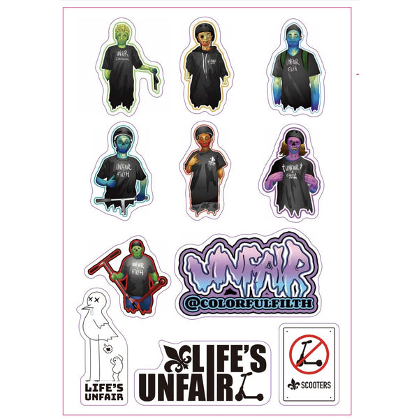 Unfair Scooters Sticker Sheet